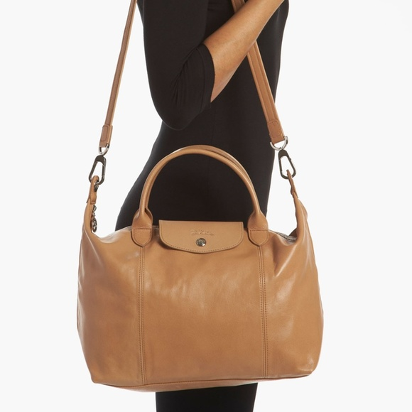 Longchamp leather Le Pliage Cuir in rare camel
